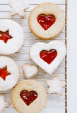 Linzer homemade cookies with heart shape Royalty Free Stock Photography