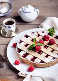 Linzer tart torte with fresh raspberry Stock Photos