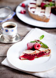 Linzer tart torte with fresh raspberry Stock Photography