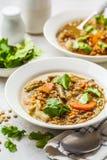 Linzesoep met groenten in een witte plaat, witte verticale achtergrond, Installatie gebaseerd voedsel, het schone eten stock foto