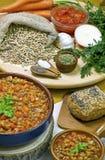 Linzesoep met ingrediënten Stock Foto