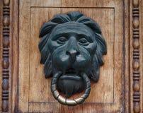 以lion& x27的形式古色古香的古铜色把柄; 在木门的s头 免版税库存图片