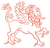 Lion. Drawing of lion in a white background Stock Images
