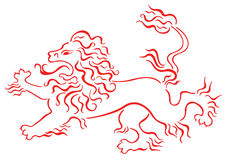 Lion. Drawing of lion in a white background Royalty Free Stock Photography