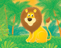Lion. Sits on a lawn in a jungle Royalty Free Stock Images