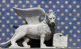 Lion. Winged lion of Venice at Clocktower at St Mark's Square in Venice Stock Photography
