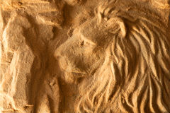 Lion. A sculpture from sand Stock Photography