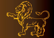 Lion. Illustration of the whole lion body with the gradient background vector illustration