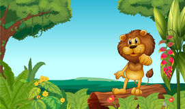 A lion above a trunk at the jungle. Illustration of a lion above a trunk at the jungle Stock Image