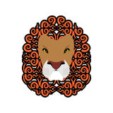 Lion Abstract emblem. Mane ornament. Leo tattoo. wild animal Stock Photo
