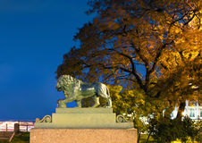 Lion at the Admiralty embankment, St Petersburg Stock Photography