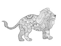 Lion. Adult antistress coloring page. Black white hand drawn doodle animal. Ethnic patterned vector. African, indian, totem tribal, zentangle design. Sketch Royalty Free Stock Image