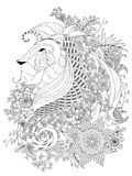 Lion adult coloring page. Attractive lion adult coloring page with floral element Stock Image