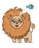 Lion affamé mignon Rêves de petit animal de lion des poissons délicieux Image libre de droits