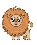 Lion affamé mignon Rêves de petit animal de lion des poissons délicieux Images libres de droits