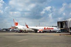 Lion Air flygplan som parkeras på Soekarno-Hatta den internationella flygplatsen Arkivfoton
