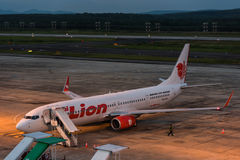Lion air park in apron at krabi airport Royalty Free Stock Photos