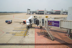 Lion Air Plane tailandés aterrizado en Don Mueang International Airport Imágenes de archivo libres de regalías