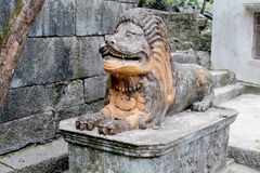 Lion ancient stone statue Royalty Free Stock Photo