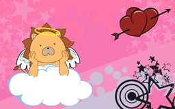 Lion angel cherub baby cartoon cloud background Stock Photos