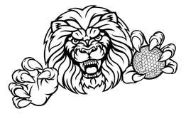 Lion Golf Ball Sports Mascot Royalty Free Stock Image