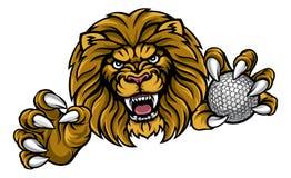 Lion Golf Ball Sports Mascot Royalty Free Stock Photo