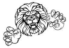 Lion Angry Esports Mascot illustration stock