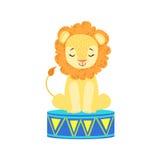 Lion Animal Artist Waiting For qualifié par cirque la représentation dans l'exposition de cirque illustration de vecteur