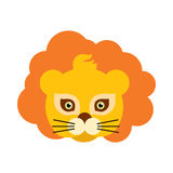 Lion Animal Carnival Mask. Orange King of Beast. Lion animal carnival mask vector illustration in flat style. Orange king of beast with luxury hair. Funny Royalty Free Stock Photography