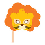 Lion Animal Carnival Mask. Orange King of Beast. Lion animal carnival mask vector illustration in flat style. Orange king of beast with luxury hair. Funny Royalty Free Stock Photos