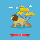 Lion. Animal concept vector poster. Design elements and icons Royalty Free Stock Images