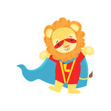 Lion Animal Dressed As Superhero With A Cape Comic Masked Vigilante Character Royalty Free Stock Photography