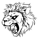 Lion animal mascot. A powerful lion animal mascot head in black and white roaring Stock Photo