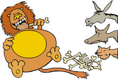 Lion with animals Royalty Free Stock Photo