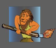 Lion artist cartoon brush drawing human sport body. The lion draws with a brush, is dressed in a sportive appearance with a paintbrush for drawing in the hands Royalty Free Stock Image
