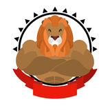 Lion athlete round emblem. Big wild animal with shaggy mane. Be. Asts of prey with big muscles. Logo for sports club team. fitness sign Stock Photos