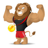 Lion athlete shows muscles stock illustration