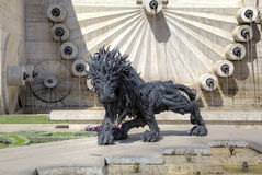 Lion from automobile tires - a city sculpture on the Cascade. Stock Image