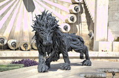 Lion from automobile tires - a city sculpture on the Cascade. Stock Photo