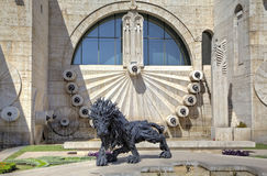 Lion from automobile tires - a city sculpture on the Cascade. Stock Images