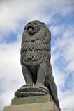 Lion av stenbron Arkivfoto