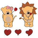 Lion baby cartoon valentine rose set Royalty Free Stock Photo