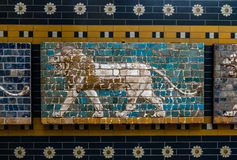 Lion on Babylonian Mosaic, Fragment of the Ishtar Gate in Istanbul. ISTANBUL, TURKEY - JUNE 11, 2013: Lion on Babylonian mosaic, fragment of the Ishtar Gate in royalty free stock image
