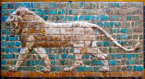 Lion on Babylonian mosaic. Fragment of the Ishtar Gate in Istanbul, Turkey royalty free stock image