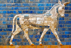 Ishtar Gate wall with mythical bull Royalty Free Stock Photography