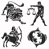 Lion, balance, archer, fish horoscope symbols Stock Photo