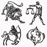 Lion, balance, archer, fish horoscope symbols Royalty Free Stock Photos