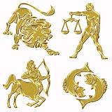 Lion, balance, archer, fish horoscope symbols Royalty Free Stock Photo