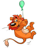 Lion on balloon Stock Image