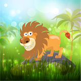 Lion in the bamboo forest. Vector vector illustration